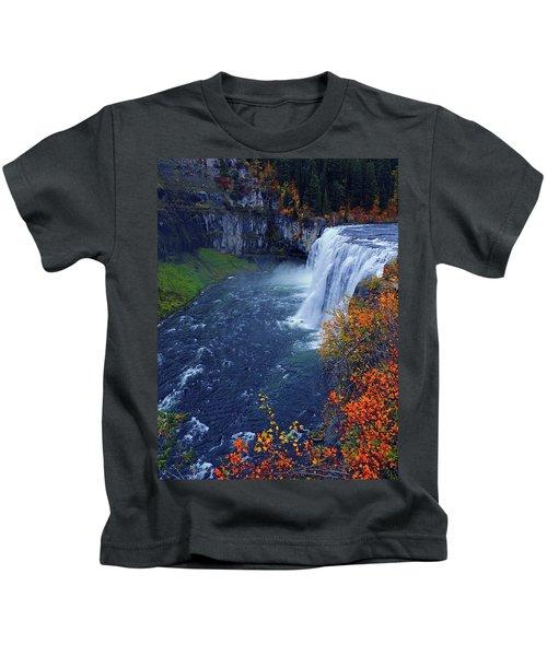Mesa Falls In The Fall Kids T-Shirt