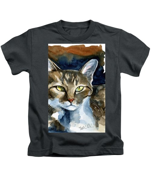 Mesmerizing Eyes - Tabby Cat Painting Kids T-Shirt