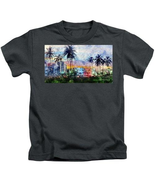 Miami Beach Watercolor Kids T-Shirt by Jon Neidert