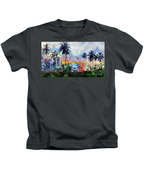 Miami Beach Watercolor Kids T-Shirt