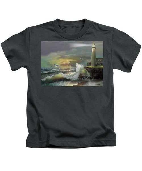 Michigan Seul Choix Point Lighthouse With An Angry Sea Kids T-Shirt