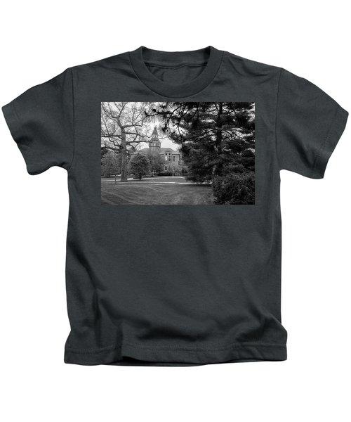 Michigan State University Campus Black And White  Kids T-Shirt by John McGraw