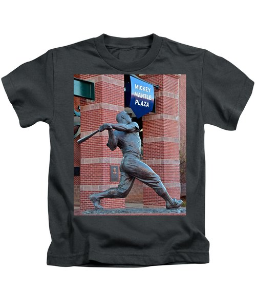 Mickey Mantle Kids T-Shirt by Frozen in Time Fine Art Photography