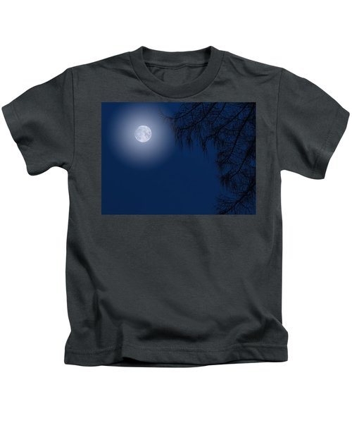 Midnight Moon And Night Tree Silhouette Kids T-Shirt