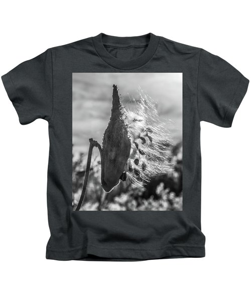 Milkweed Pod Back Lit B And W Kids T-Shirt