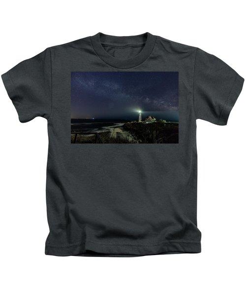 Milky Way At Portland Head Light Kids T-Shirt