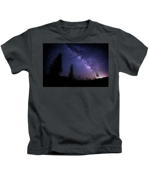 Milky Way At Powder Mountain Kids T-Shirt