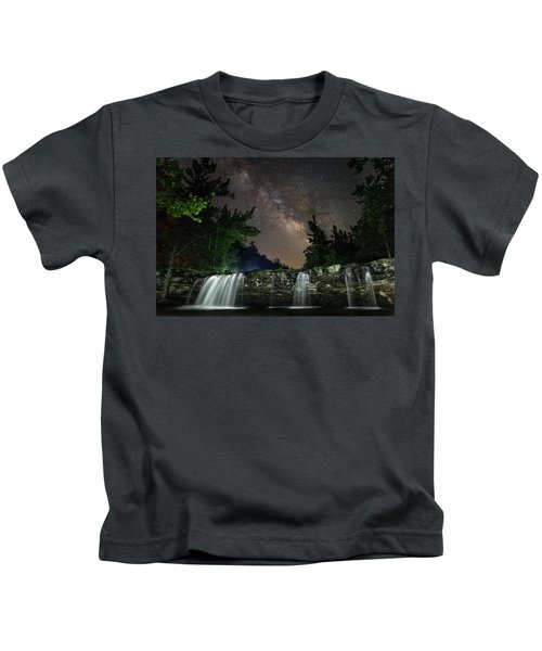 Milky Way Over Falling Waters Kids T-Shirt