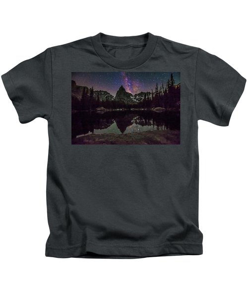 Milky Way Over Lone Eagle Peak And Mirror Lake Kids T-Shirt