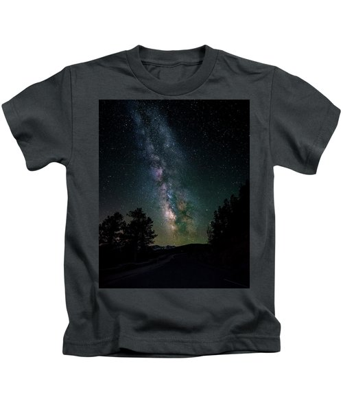 Milky Way Over Rocky Mountains Kids T-Shirt