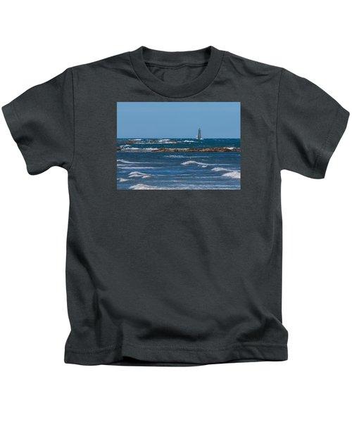 Minot Lighthouse Wave Crash Kids T-Shirt