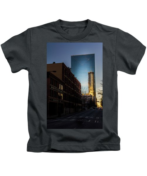 Mirror Reflection Of Peachtree Plaza Kids T-Shirt