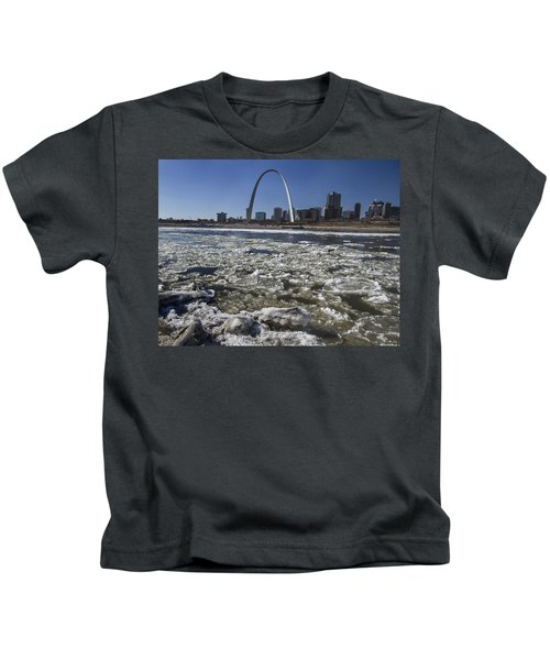 Mississippi Rive In The Winter With Ice  Kids T-Shirt