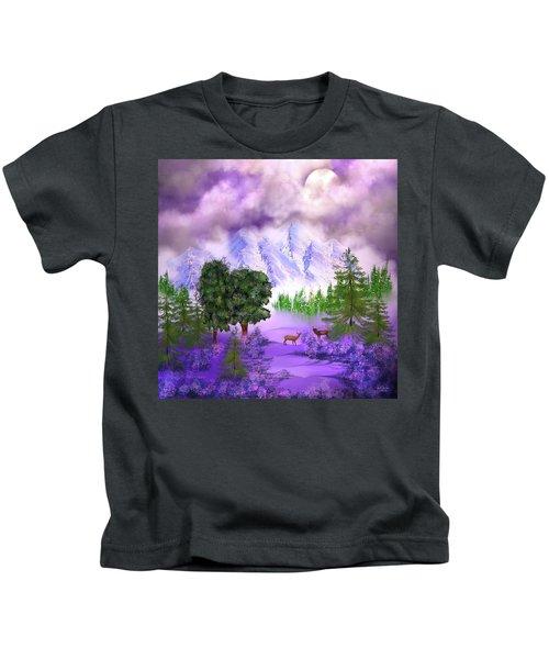 Misty Mountain Deer Kids T-Shirt