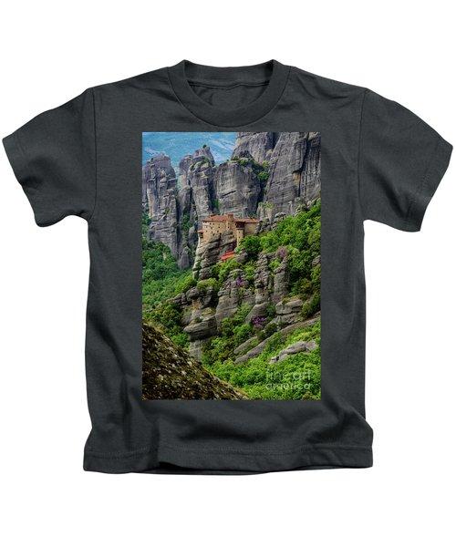 Monastery Of Saint Nicholas Of Anapafsas, Meteora, Greece Kids T-Shirt
