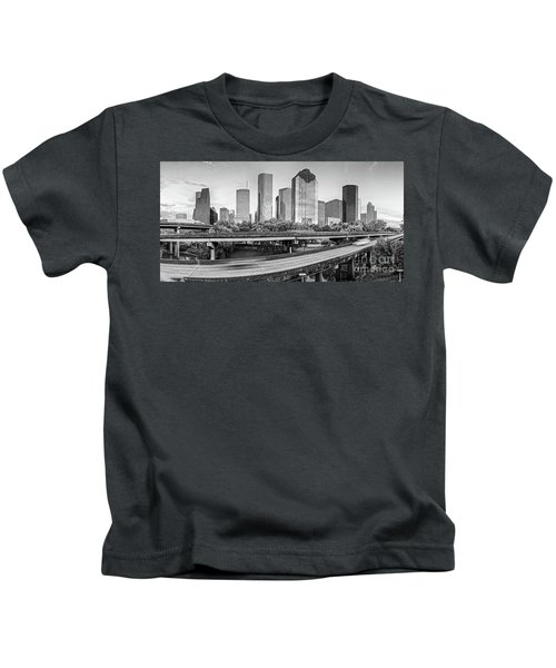 Monochrome Panorama Of Downtown Houston Skyline From Buffalo Bayou Park - Harris County Houston Texa Kids T-Shirt