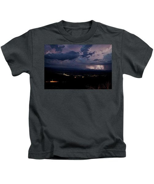 Monsoon Lightning Over Sedona From Jerome Az Kids T-Shirt