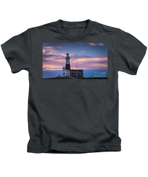Montauk Lighthousepastel  Sunrise Kids T-Shirt