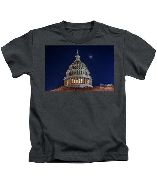 Moon Over The Washington Capitol Building Kids T-Shirt