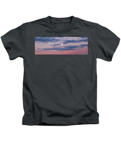 Moonrise In Pink Sky Kids T-Shirt