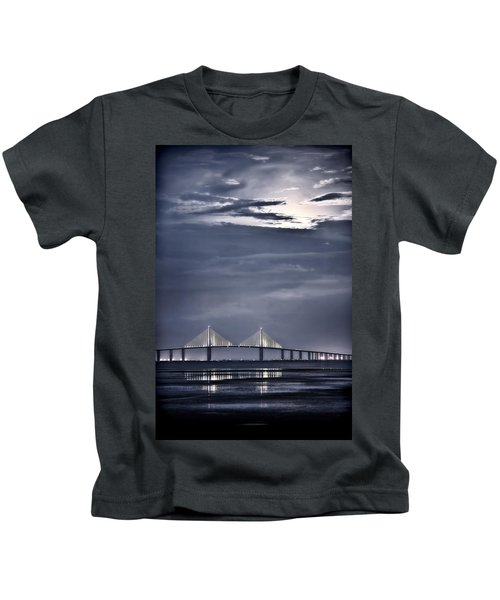 Moonrise Over Sunshine Skyway Bridge Kids T-Shirt
