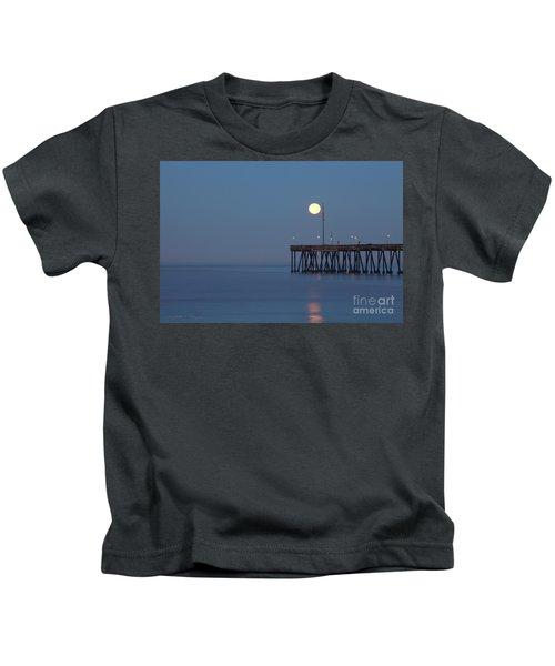 Moonset At The Ventura Pier Kids T-Shirt