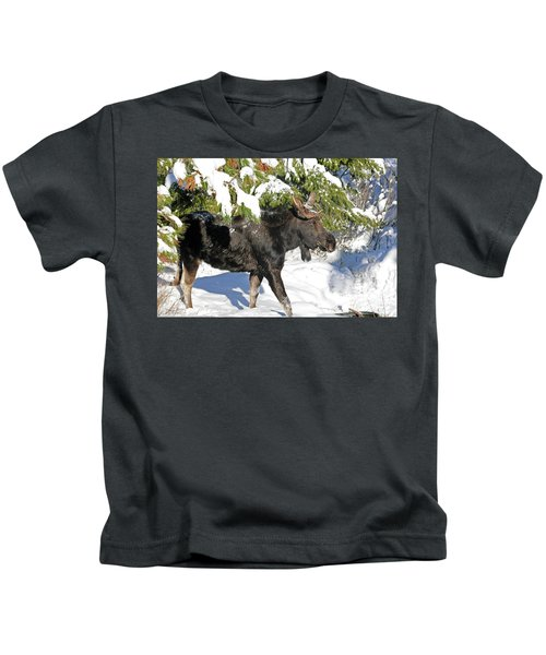 Moose In Snow Kids T-Shirt