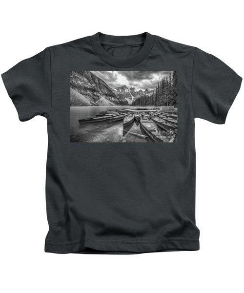 Moraine Lake In Black And White Kids T-Shirt
