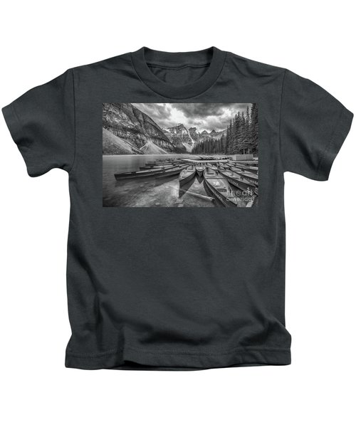 Moraine Lake In Black And White Kids T-Shirt