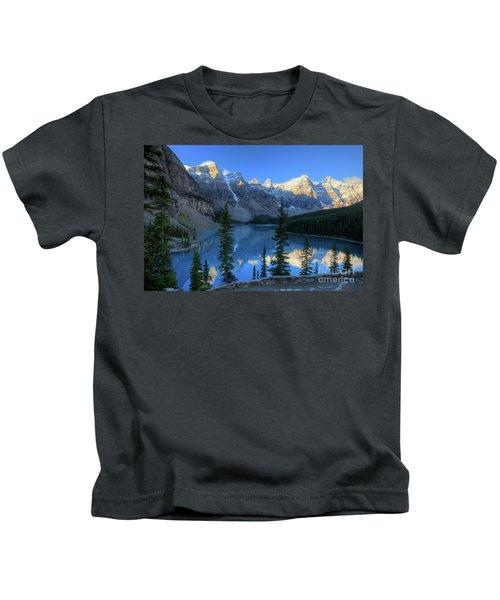 Moraine Lake Sunrise Blue Skies Kids T-Shirt