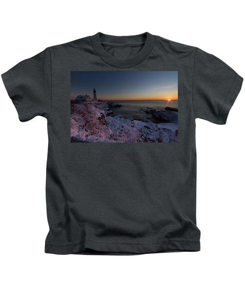 Morning Glow At Portland Headlight Kids T-Shirt