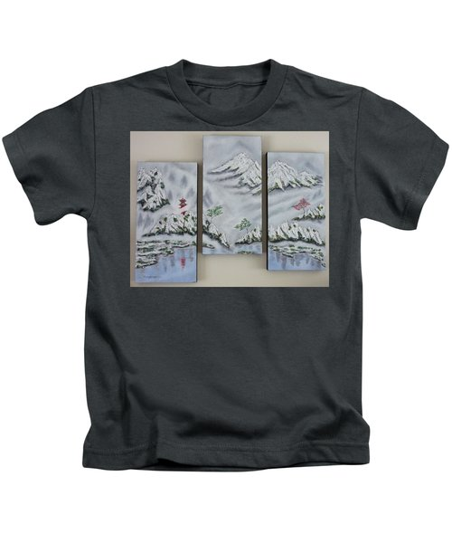 Morning Mist Triptych Kids T-Shirt