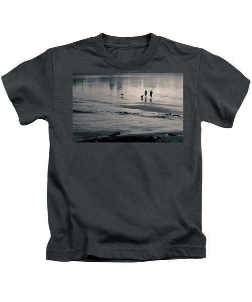 Morning Walk, Gooch's Beach, Kennebunk, Maine Kids T-Shirt