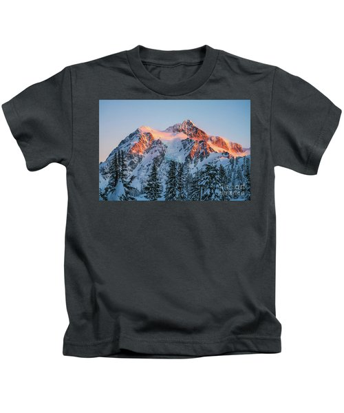 Mount Shuksan Golden Alpenglow Kids T-Shirt