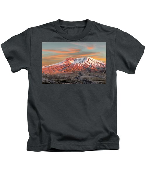 Mount St Helens Sunset Washington State Kids T-Shirt