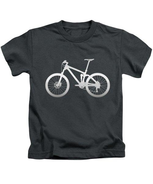 Mountain Bike Silhouette - Silver On Volcanic Rocks Gray Canvas Kids T-Shirt