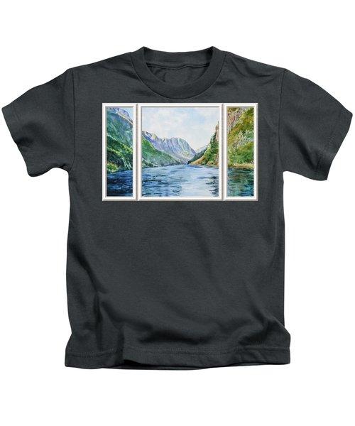 Mountain Lake View Window  Kids T-Shirt
