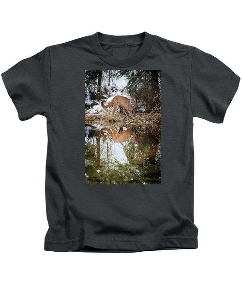 Mountain Lion Reflection Kids T-Shirt