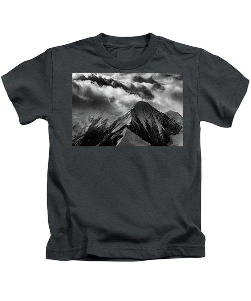 Mountain Peak In Black And White Kids T-Shirt