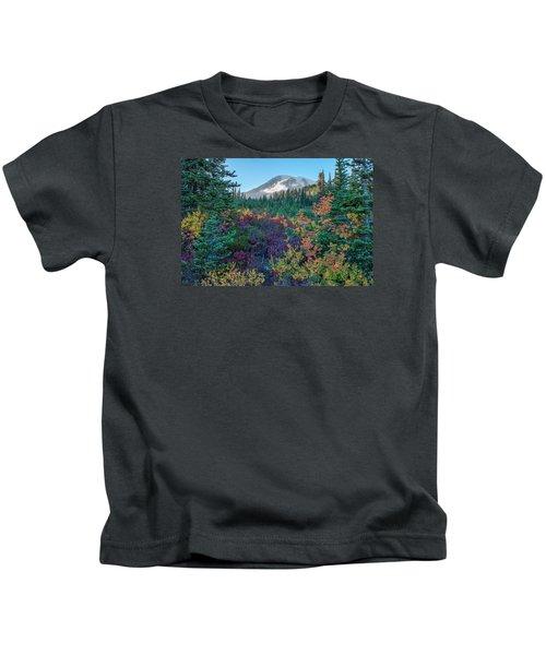 Mt Rainier With Autumn Colors Kids T-Shirt