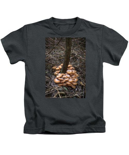 Mushrooms On Trunk Kids T-Shirt