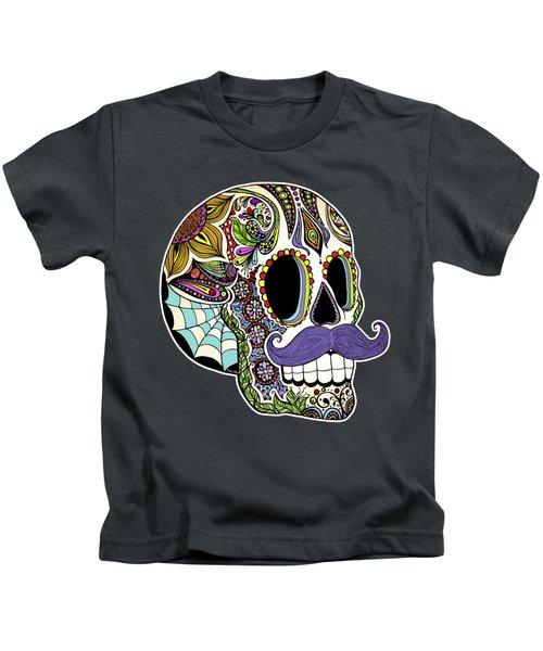 Mustache Sugar Skull Kids T-Shirt by Tammy Wetzel