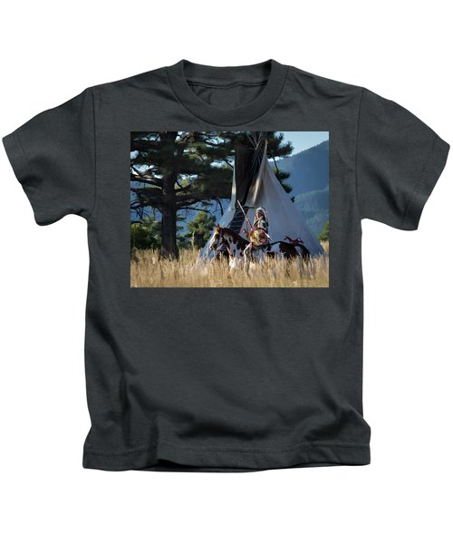 Native American In Full Headdress In Front Of Teepee Kids T-Shirt