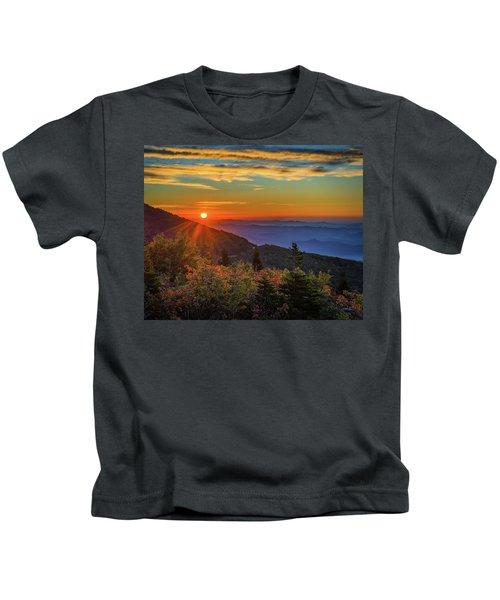 Nc Mountain Sunrise Blue Ridge Mountains Kids T-Shirt