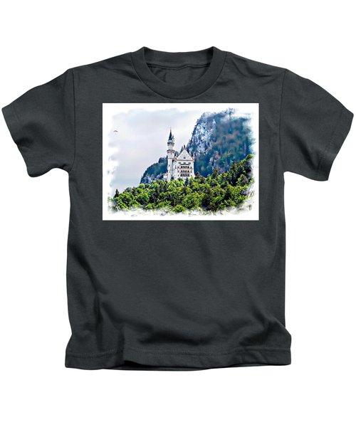 Neuschwanstein Castle With A Glider Kids T-Shirt