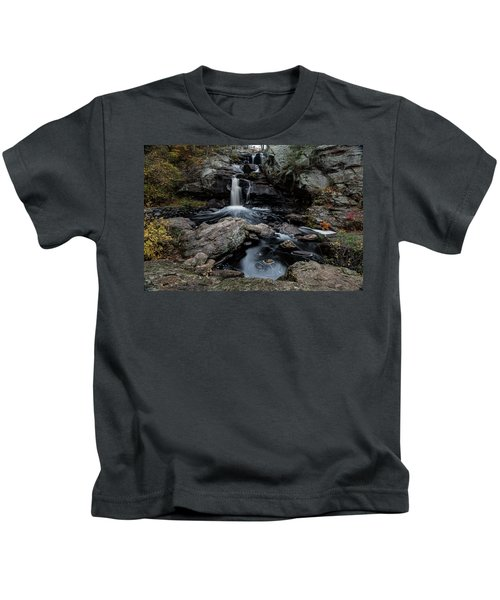 New England Waterfall In Autumn Kids T-Shirt