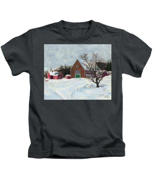 New Hampshire Farm In Winter Kids T-Shirt