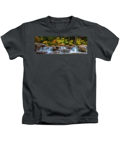 New Hampshire White Mountains Swift River Waterfall In Autumn With Fall Foliage Kids T-Shirt