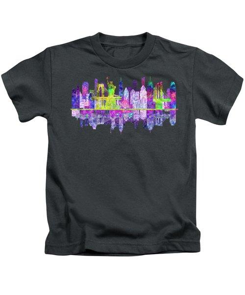 New York Skyline Glowing Kids T-Shirt by John Groves