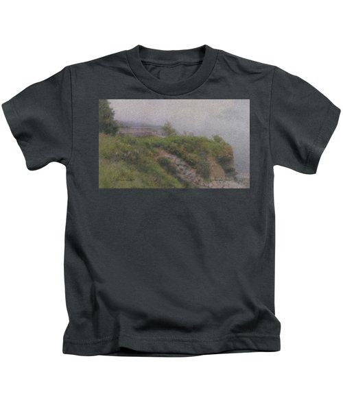 Newport Cliff Walk In The Fog Kids T-Shirt